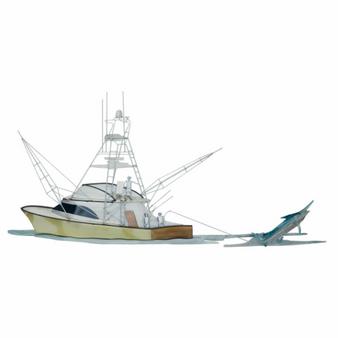 Hooked Up! | Fishing Boat with Marlin Coastal Metal Wall Sculpture MM207