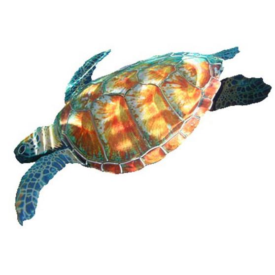 3D Large Sea Turtle Metal Wall Art