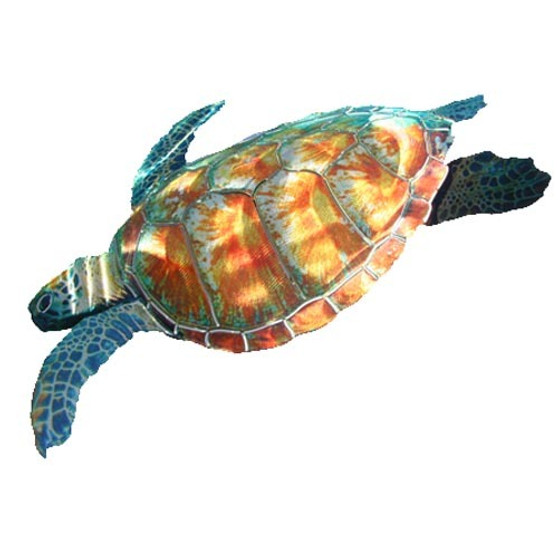 Sea Turtle Swimming 3D - Metal Wall Sculpture