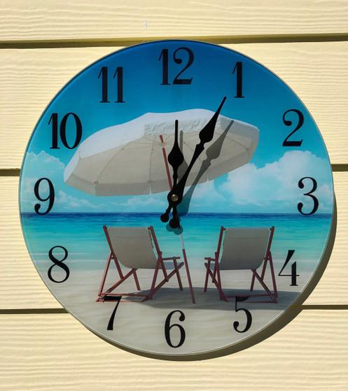 Glass Clock Beach Umbrella and Chairs