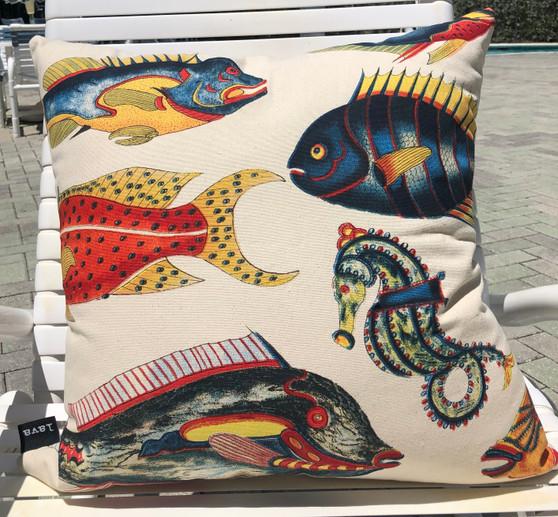 "Island Fish Pillow Indoor Style 22 x 22"""
