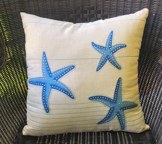 Blue Starfish Pillow Indoor Style