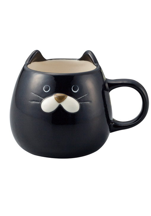 Ceramic Black Chubby Cat Mug for Coffee Tea Milk 14oz
