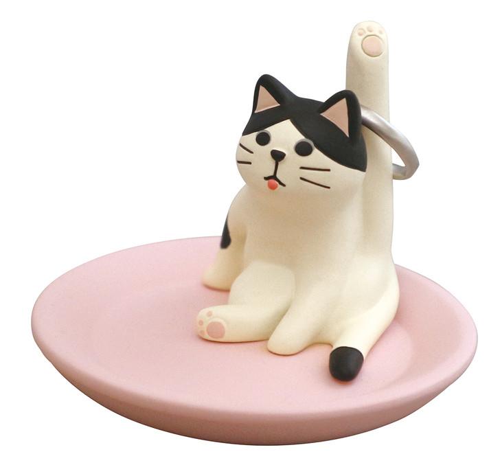 Ceremic White Cat Jewelry Tray
