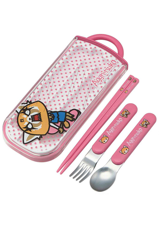 Aggretsuko Lunch Utensil Set - Includes Reusable Fork, Spoon, Chopsticks and Carrying Case