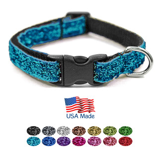 """Bark Boutique Teacup Dog Collar for Small Dogs - Made in the USA Adjustable (7-11"""") Sparkle Nylon Puppy Collars in a Variety of Fashionable Colors"""