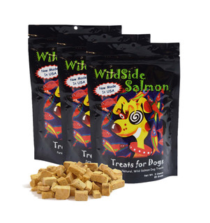 WildSide Wild Alaskan Freeze Dried Salmon All Natural Grain Free Training Treat Snacks for Dogs 3oz - Pack of 3