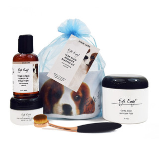 Eye Envy NR Tear Stain Remover Starter Kit with Large ProPowder Applicator Brush - for Dogs and Puppies - All Natural Eye Care