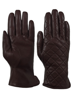 Giromy Samoni Womens Warm Winter Plush Faux Fur Lined Genuine Leather Quilted Dress Driving Gloves - Brown