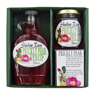 Shadow River Gourmet USA Prickly Pear Cactus Sampler Boxed Set with 10oz Syrup and 8oz Jelly - Made From Real Cactus Fruit Juice