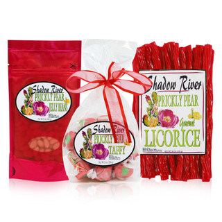 Shadow River Gourmet Prickly Pear Cactus Candy Sampler Set with Licorice, Taffy, and Jelly Beans