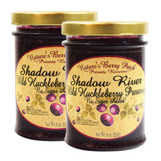 Shadow River Wild Huckleberry Gourmet Berry Jam Preserves With No Added Refined Sugar - 9 oz - Pack of 2