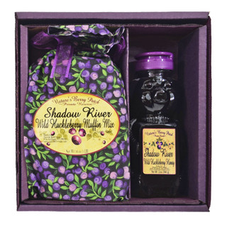 Shadow River Wild Huckleberry Gourmet Boxed Set Muffin Mix & 12 oz Honey