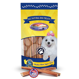 Shadow River THIN 6 Inch Made in USA 100% Beef Steer Sticks for Small Dogs, No Rawhide Bully Bones Healthy Dog Treats, All Natural Grass Fed Grain Free Long Lasting Chews