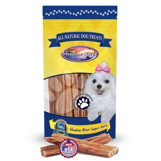 Shadow River THICK 6 Inch Made in USA 100% Beef Steer Sticks for Medium and Older Senior Dogs - Grass Fed Grain Free Long Lasting Chew Treats
