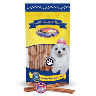 Shadow River ULTRA THIN 6 Inch Made in USA 100% Beef Steer Sticks for X-Small Dogs, No Rawhide Bully Bones Healthy Dog Treats, All Natural Grass Fed Grain Free Long Lasting Chews