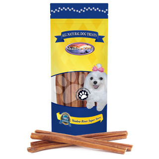 Shadow River THICK 12 Inch 100% Beef Bully Sticks for Large Dogs - Grass Fed Grain Free Long Lasting Chew Treats for Strong Chewers