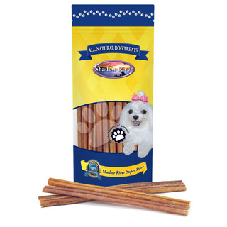 Shadow River THIN 12 Inch 100% Beef Bully Sticks for Medium and Older Senior Dogs - Grass Fed Grain Free Long Lasting Chew Treats