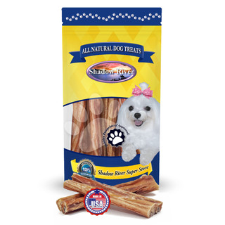 Shadow River GIANT 6 Inch Made in USA 100% Beef Steer Sticks for Extra Large Dogs, No Rawhide Bully Bones Healthy Dog Treats, All Natural Grass Fed Grain Free Long Lasting Chews - Pack of 10 Sticks