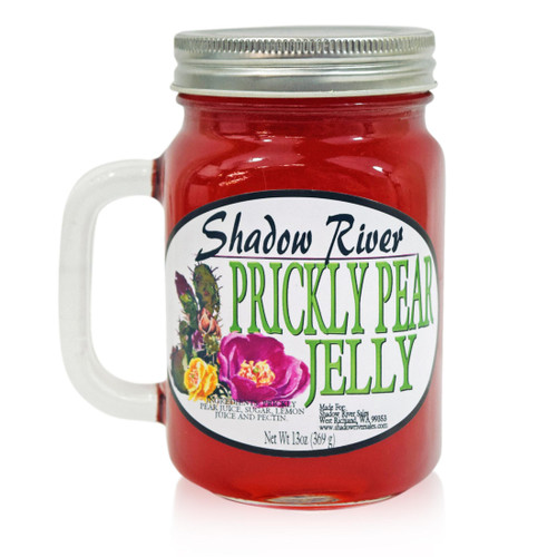 Shadow River Gourmet Prickly Pear Cactus Jelly Made From Real Cactus Fruit Juice, 13 oz Jar Mug With Handle