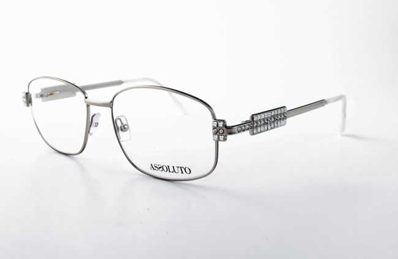 Assoluto EU57 Designer Eyeglasses in Silver White :: Rx Single Vision
