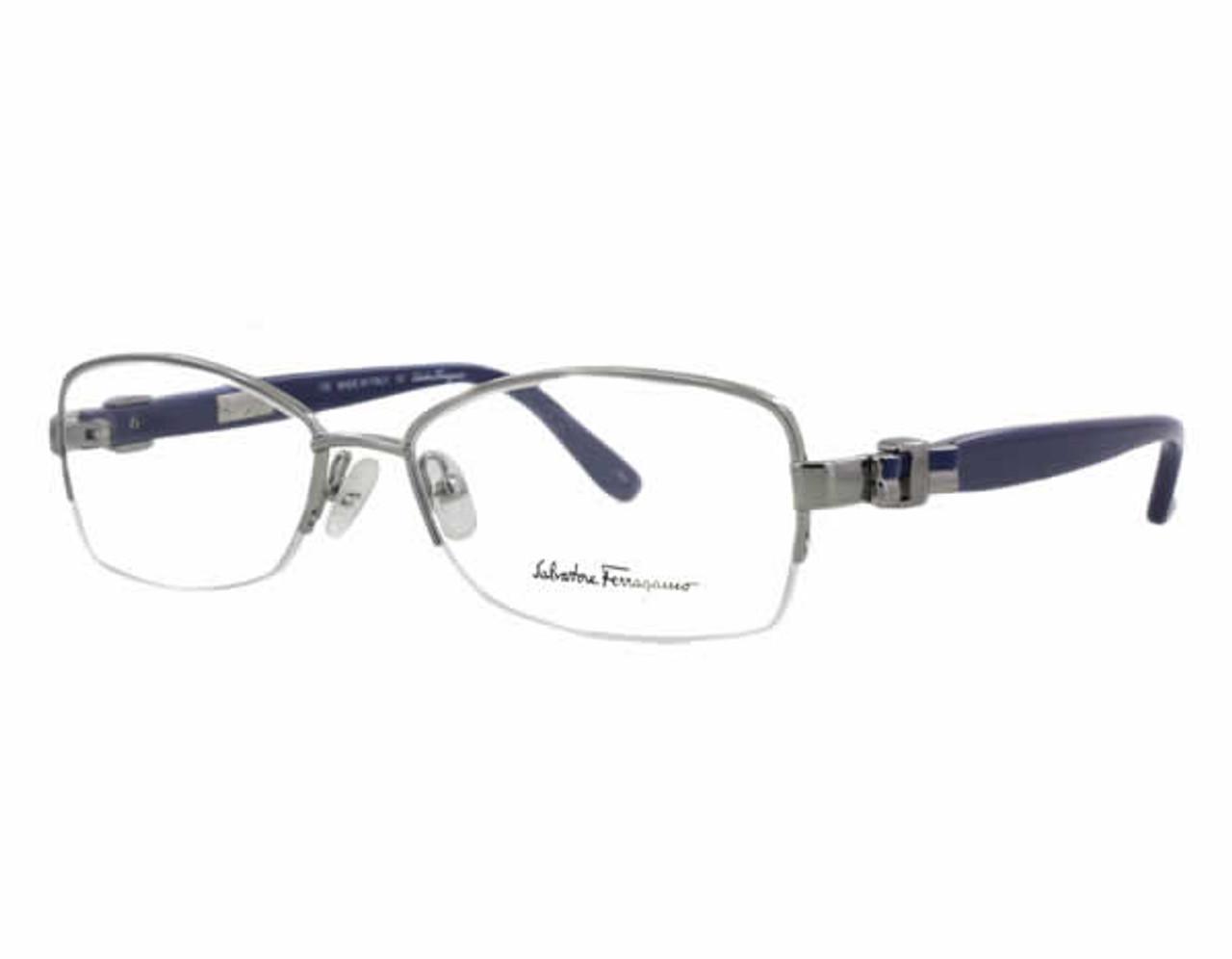 e766def734 Salvatore Ferragamo Designer Eyeglasses 2101 in Silver-Blue    Rx Bi ...