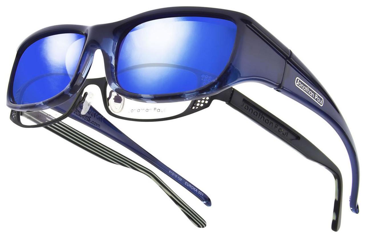 8c394161d0e8 Jonathan Paul® Fitovers Eyewear Small Euroka in Blue-Ebony   Blue Mirror  EU001BM