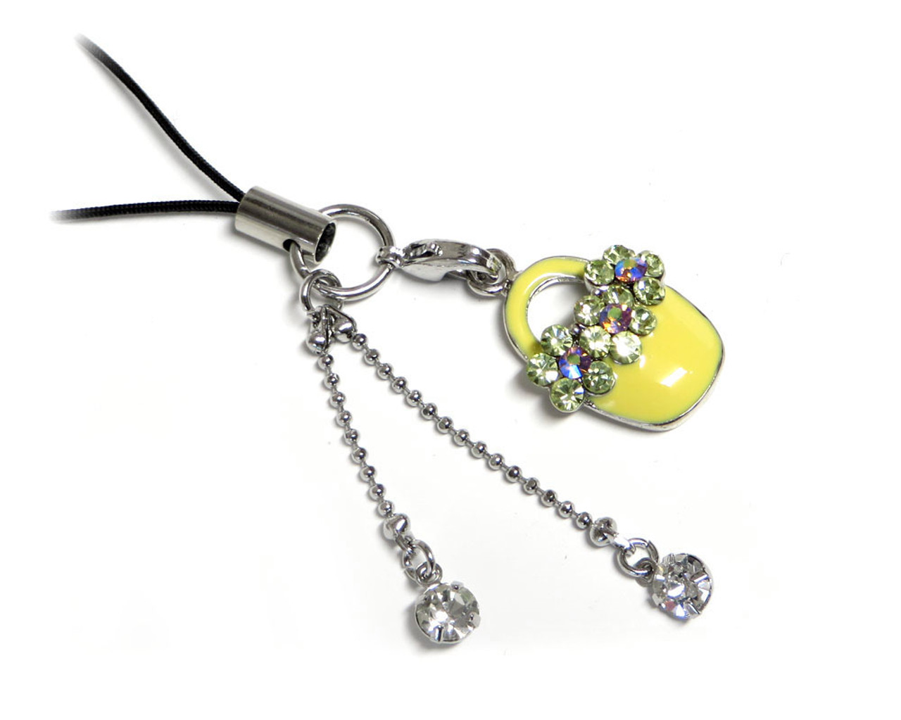 Cell Phone Gems Charms Lanyard Accessory 6005 In Yellow