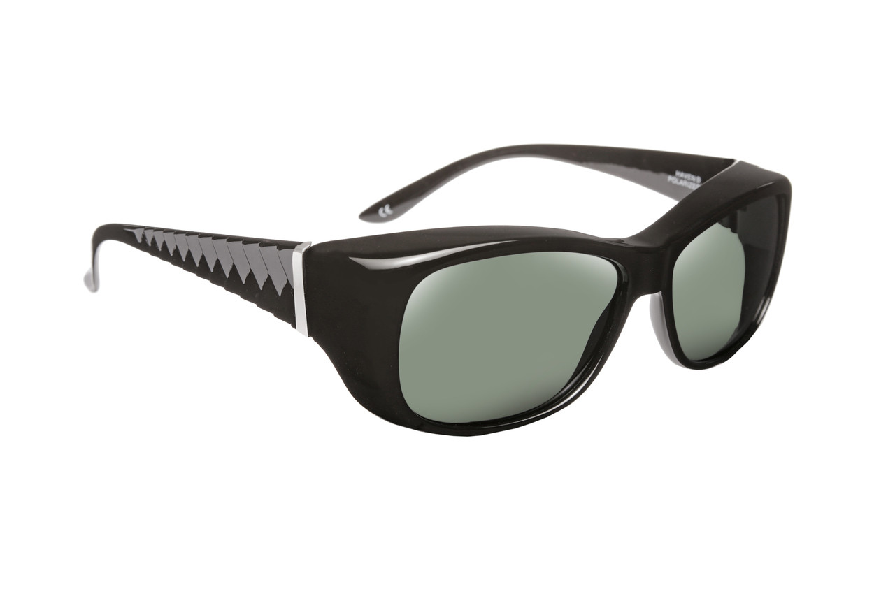 21d1b9e708 Haven Designer Fitover Sunglasses Morgan in Black   Polarized Grey Lens  (MEDIUM LARGE) - Speert International