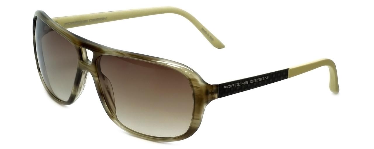 d7af8da0874 Porsche Designer Sunglasses P8557-B in Olive-Striped with Brown-Gradient  Lens