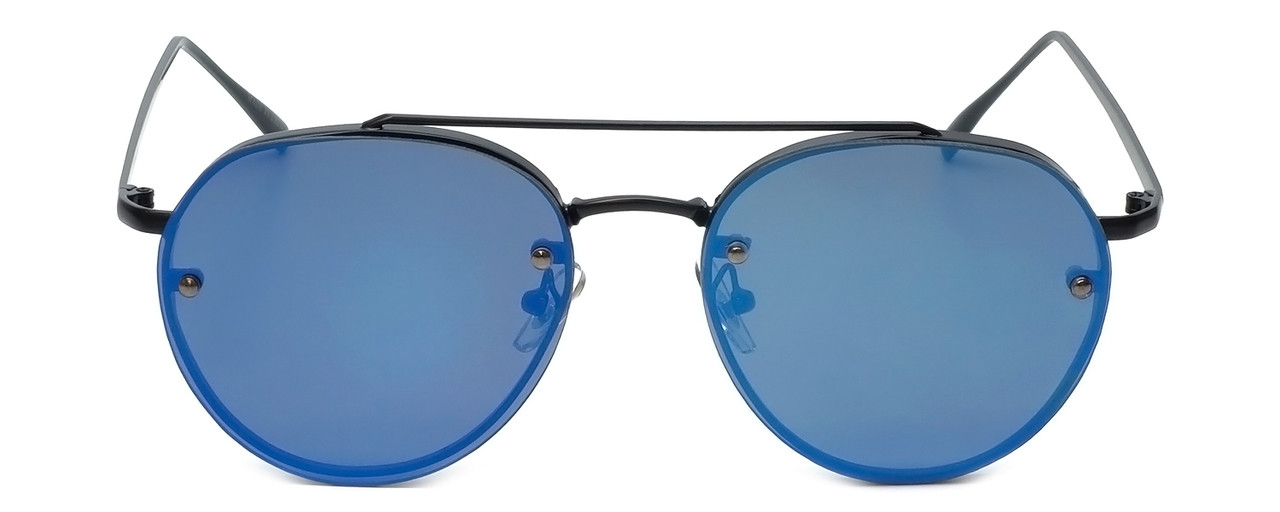Matte Black Frame with Amber Tint/Blue Mirror Lens