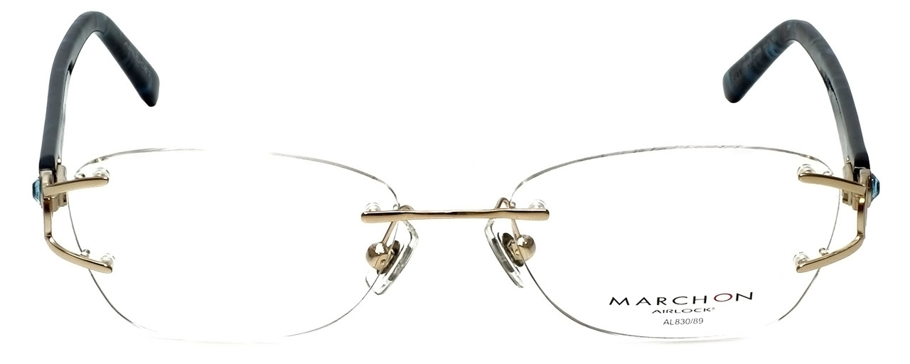 Marchon Designer Eyeglasses Airlock 830-219 in Gold 52mm :: Custom Left & Right Lens