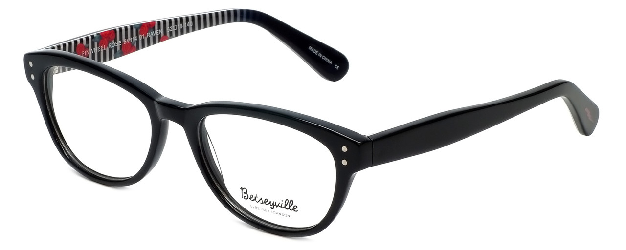 59c37c2dc63 Betsey Johnson Designer Eyeglasses Pinwheel BV114-01 in Black 52mm ...