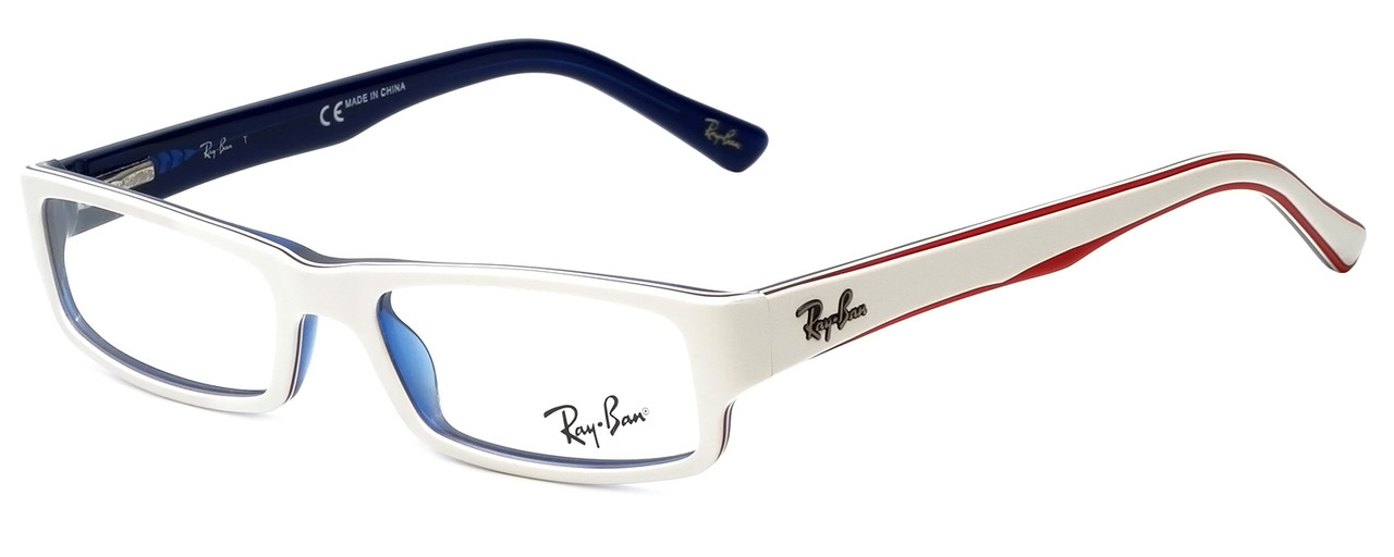 f9d9a21574 Ray-Ban Designer Eyeglasses RB5246-5089 in White Red Blue 48mm    Rx ...