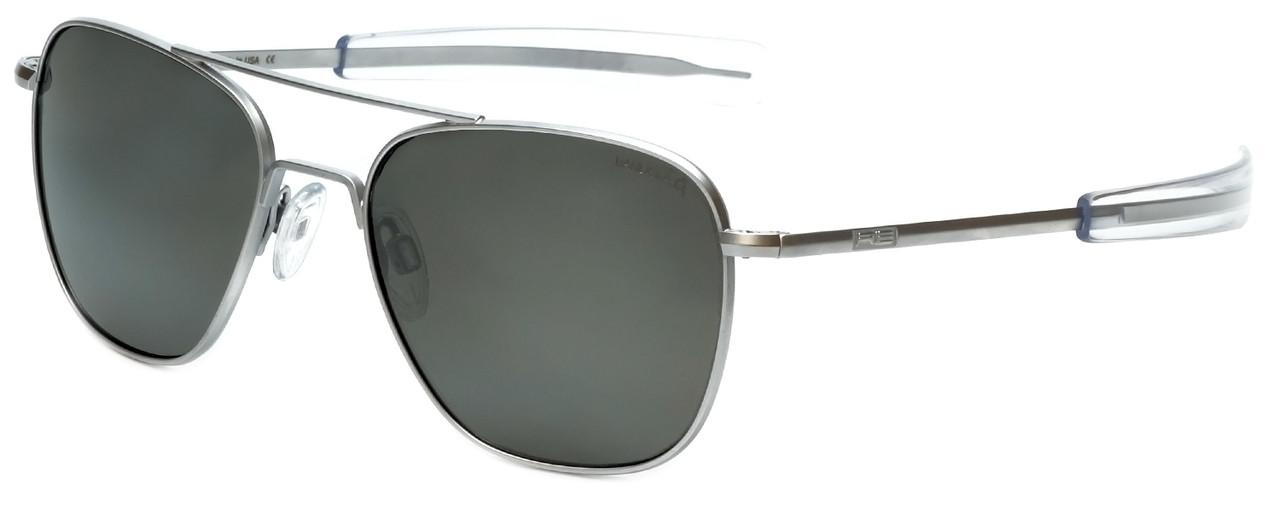 9e0350bbabc Randolph Designer Polarized Sunglasses Aviator AF156 in Matte Chrome with  Grey Lens