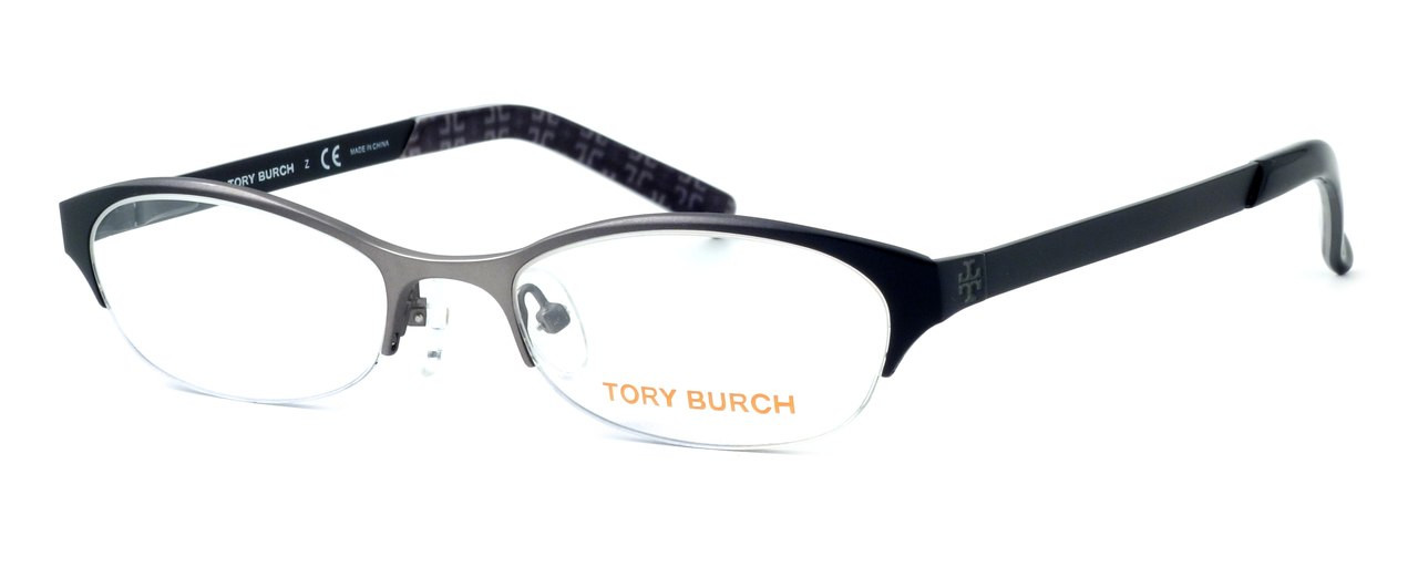 Tory Burch Designer Eyeglasses TY1016-357 in Silver-Black 51mm :: Rx Single Vision