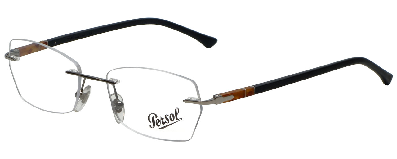 d43e4276840 Persol Designer Eyeglasses PO2417V-1011 in Silver Black 51mm    Rx ...