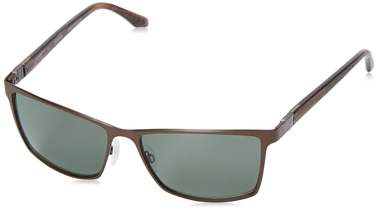 Spine Optics Designer Sunglasses SP8001 176 in Brown with Polarized Grey Tint 60mm