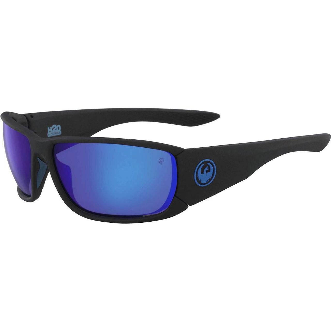 Dragon TOW IN H2O Polarized Floatable SunglassesMatte Black Blue Ion Lens