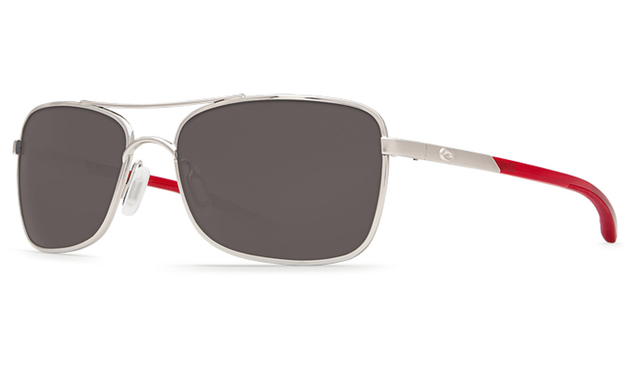 22b200fdcf Costa Del Mar Palapa 580P Polarized Sunglasses in Palladium with Crystal Red  Temples   Grey Lens