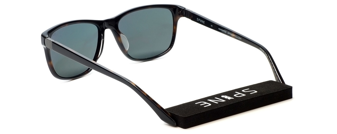 Spine Optics Designer Sunglasses SP7005 020 in Black with Polarized Silver Flash Mirrored Grey Tint 59mm