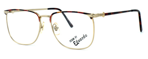 Fashion Optical Designer Eyeglasses E2055 in Gold Demi Amber 57mm :: Custom Left & Right Lens