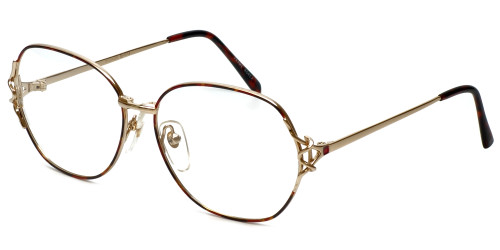 Fashion Optical Designer Eyeglasses E1013 in Gold-Demi-Amber 57mm :: Custom Left & Right Lens
