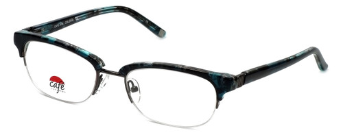 Silver Dollar Designer Eyeglasses Café 3194 in Teal Marble 52mm :: Custom Left & Right Lens