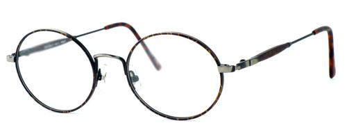 Regency International Designer Eyeglasses Prep in Dark Amber & Antique Silver 49mm :: Rx Single Vision