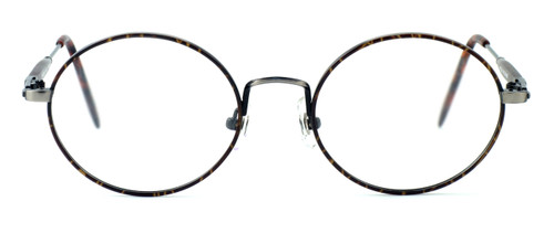 Regency International Designer Eyeglasses Prep in Dark Amber & Antique Silver 46mm :: Rx Single Vision