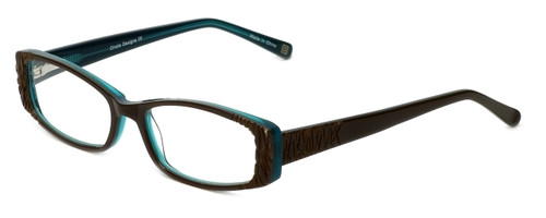 Cinzia Designer Eyeglasses Chisel C1 in Khaki Teal 52mm :: Rx Single Vision