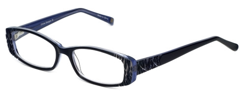 Cinzia Designer Eyeglasses Chisel C3 in Navy Grey 52mm :: Rx Single Vision