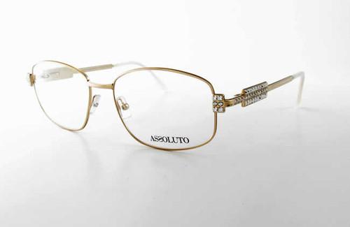 Assoluto Designer Eyeglasses EU57 in Gold-White :: Progressive
