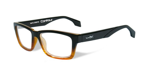 Wiley-X Contour Optical Eyeglass Collection in Gloss-Black-Brown-Stripe (WSCON05) :: Progressive